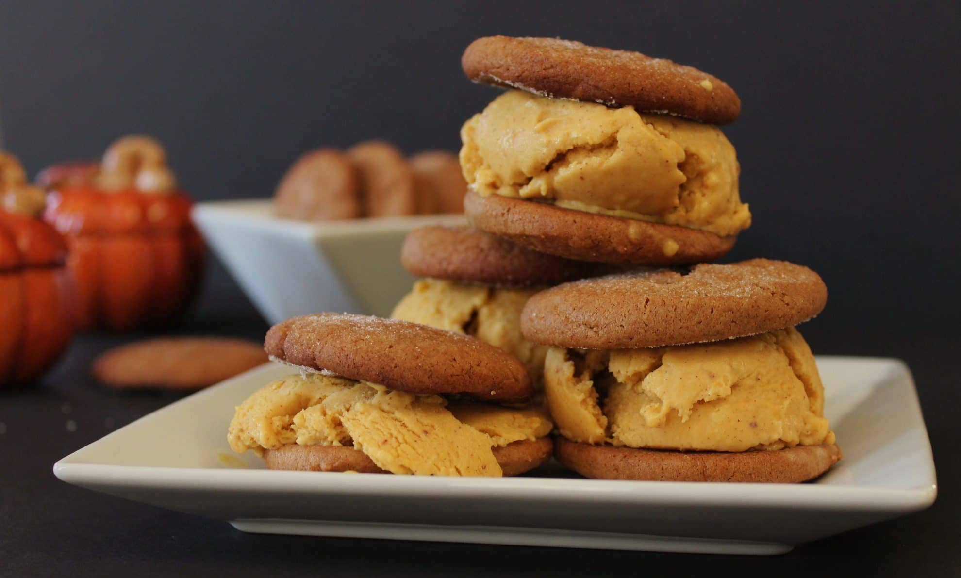 Gingersnap and Pumpkin Ice Cream Sandwiches
