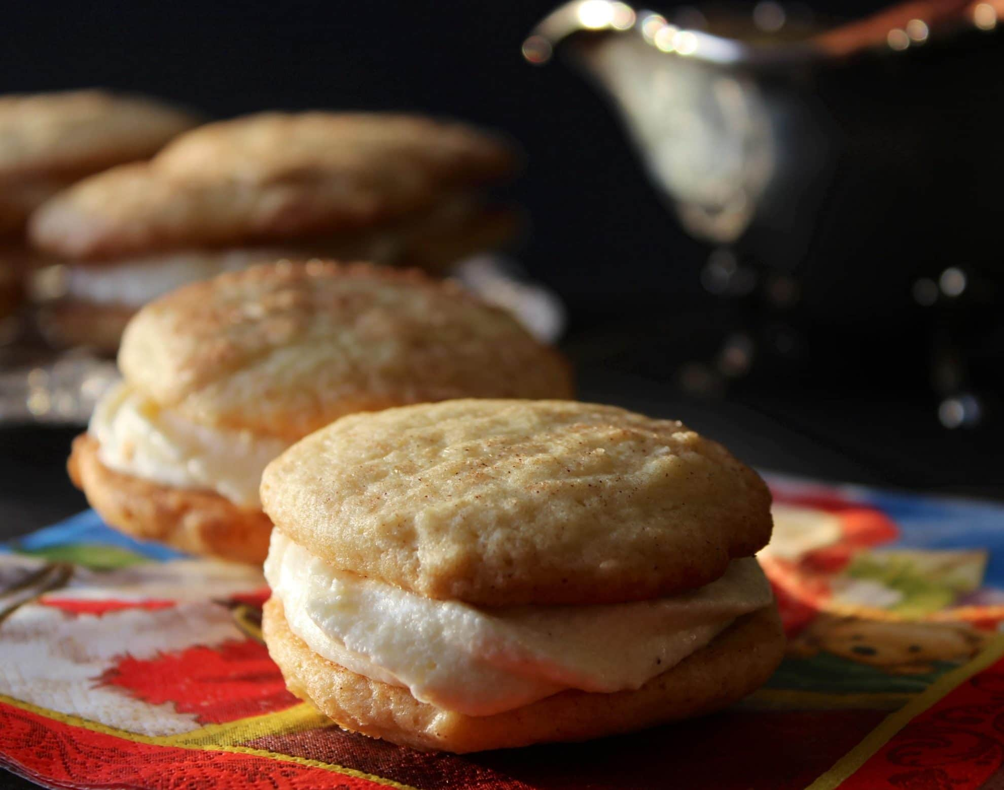 The Twelve Days of Cookies – Snickerdoodle Sandwich Cookies with Eggnog Buttercream