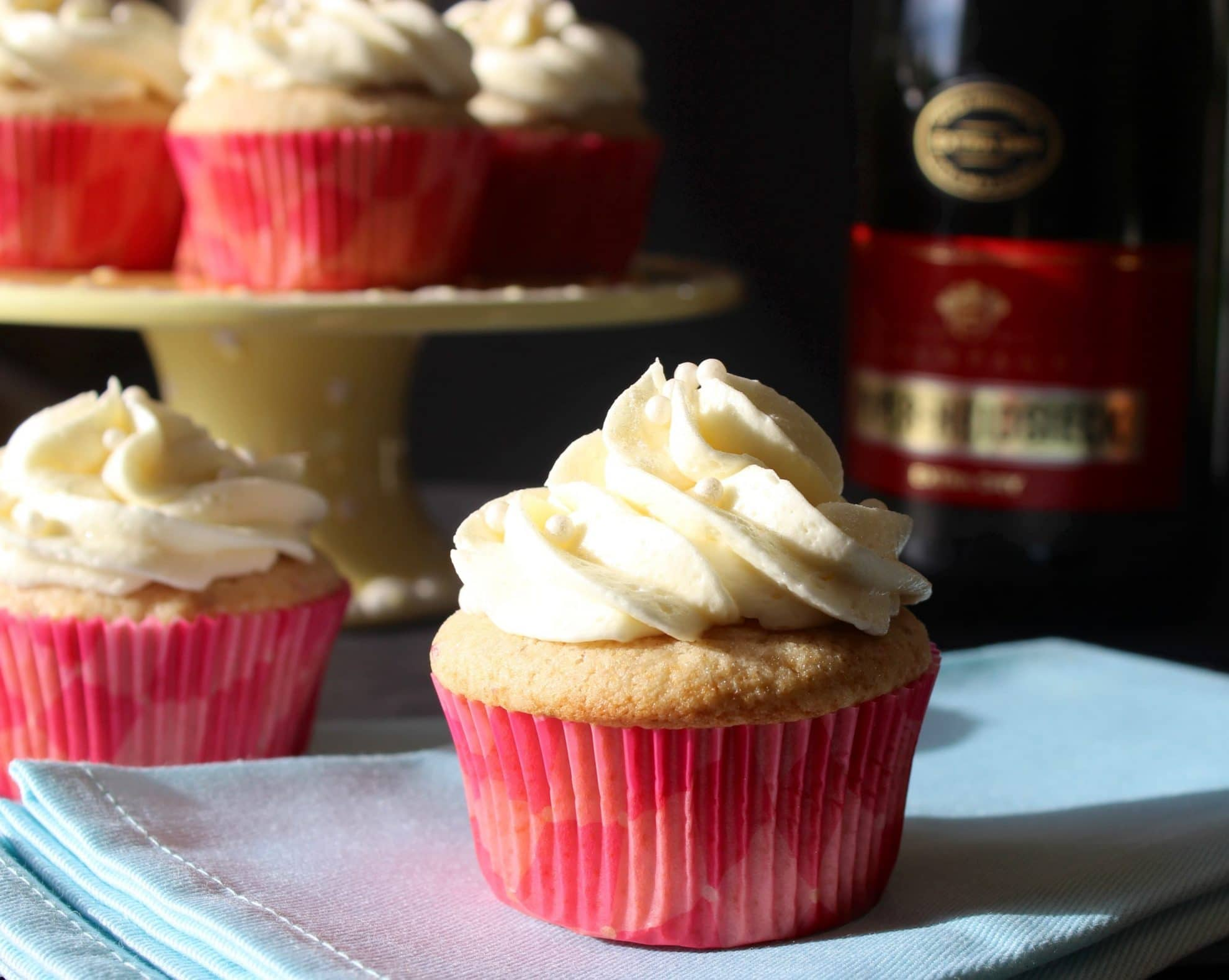 Champagne and Strawberry Cupcakes with Champagne Buttercream