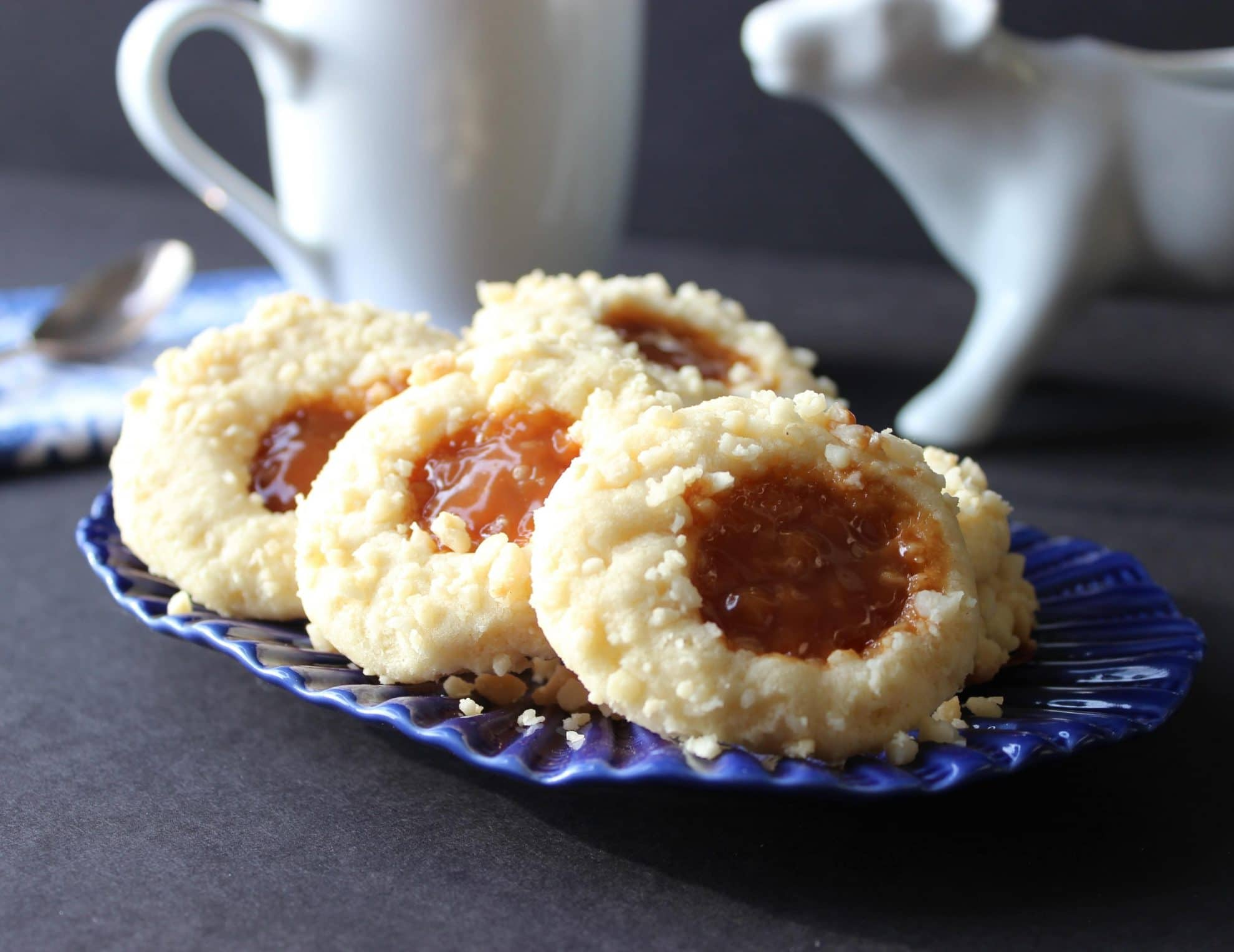 The Twelve Days of Cookies – Macadamia Butter and Caramel Thumbprint Cookies