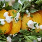 Golden Beet and Baby Arugula with Yogurt Chive Dressing