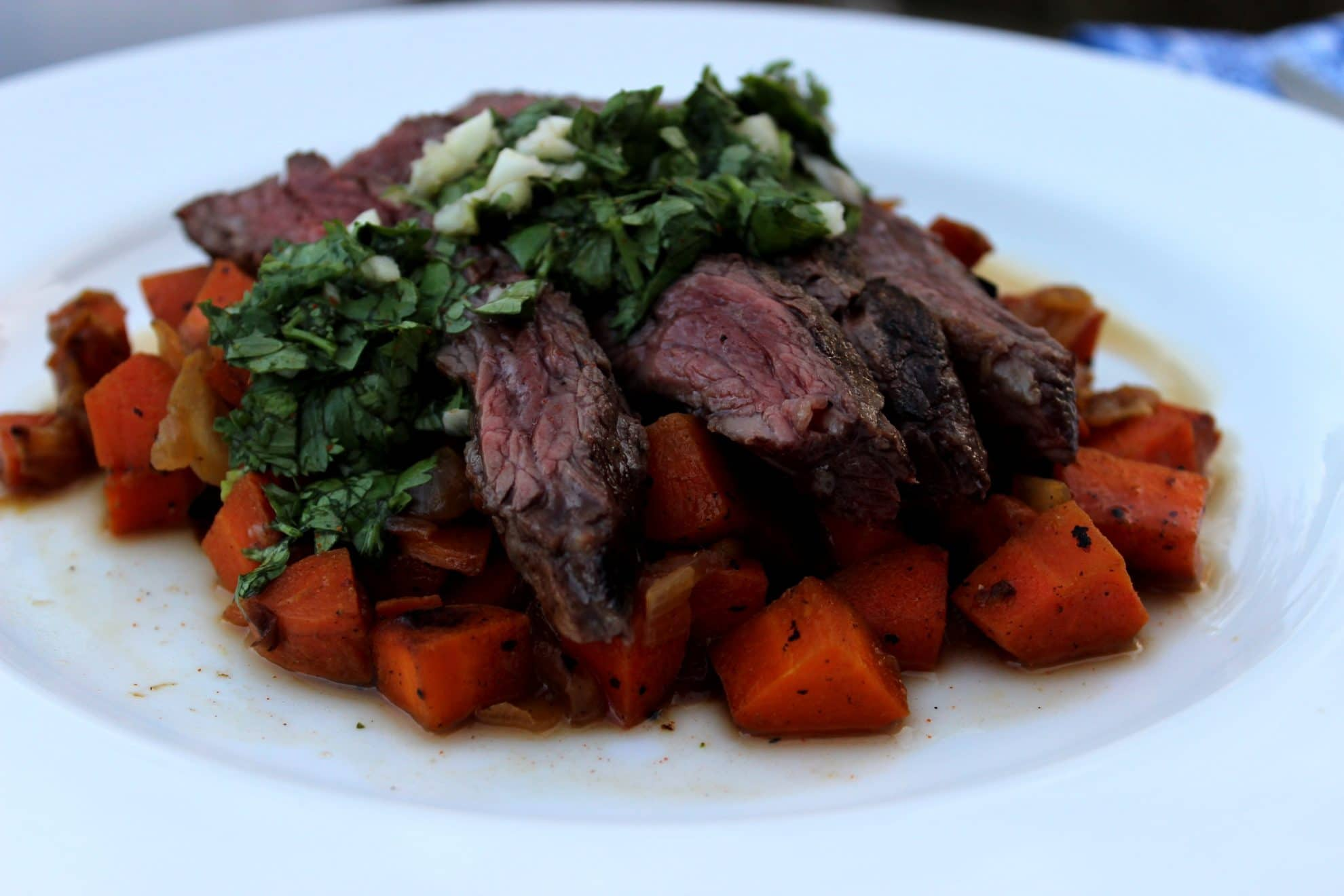 Flank Steak with Carrot Hash and Chimichurri