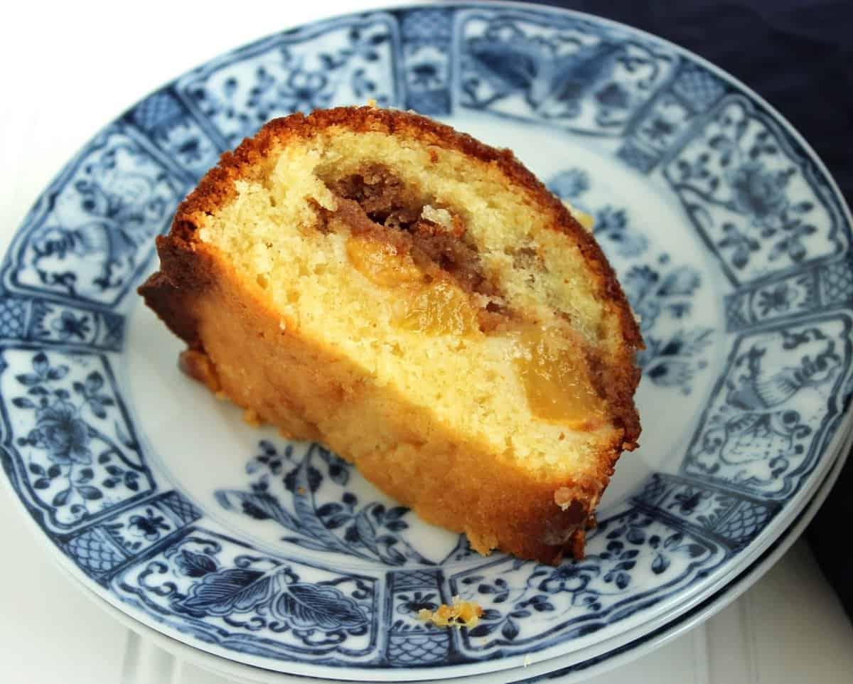 Slice of Peach Bundt Cake