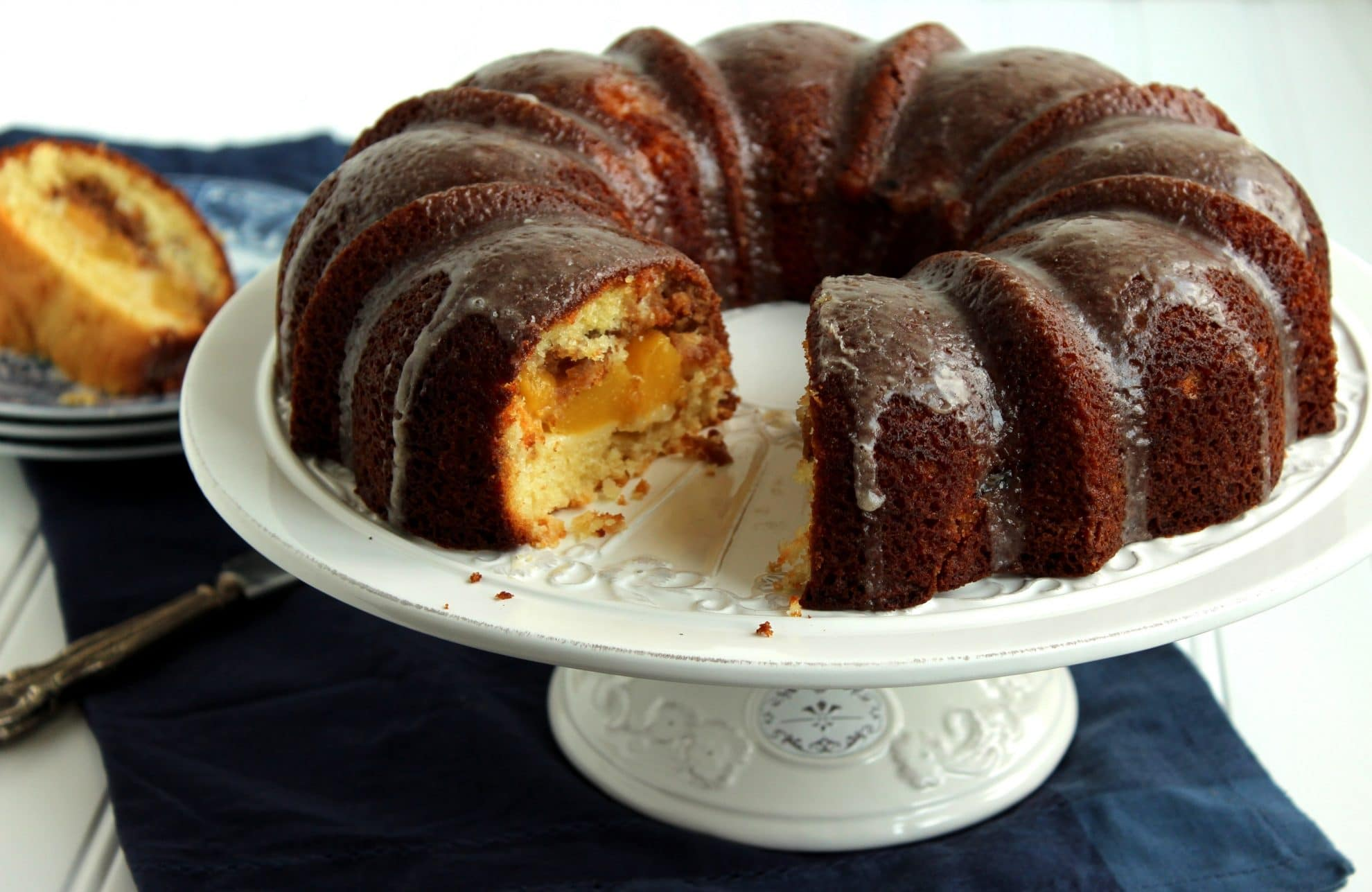 Peach Streusel Bundt Cake with Bourbon Vanilla Bean Glaze