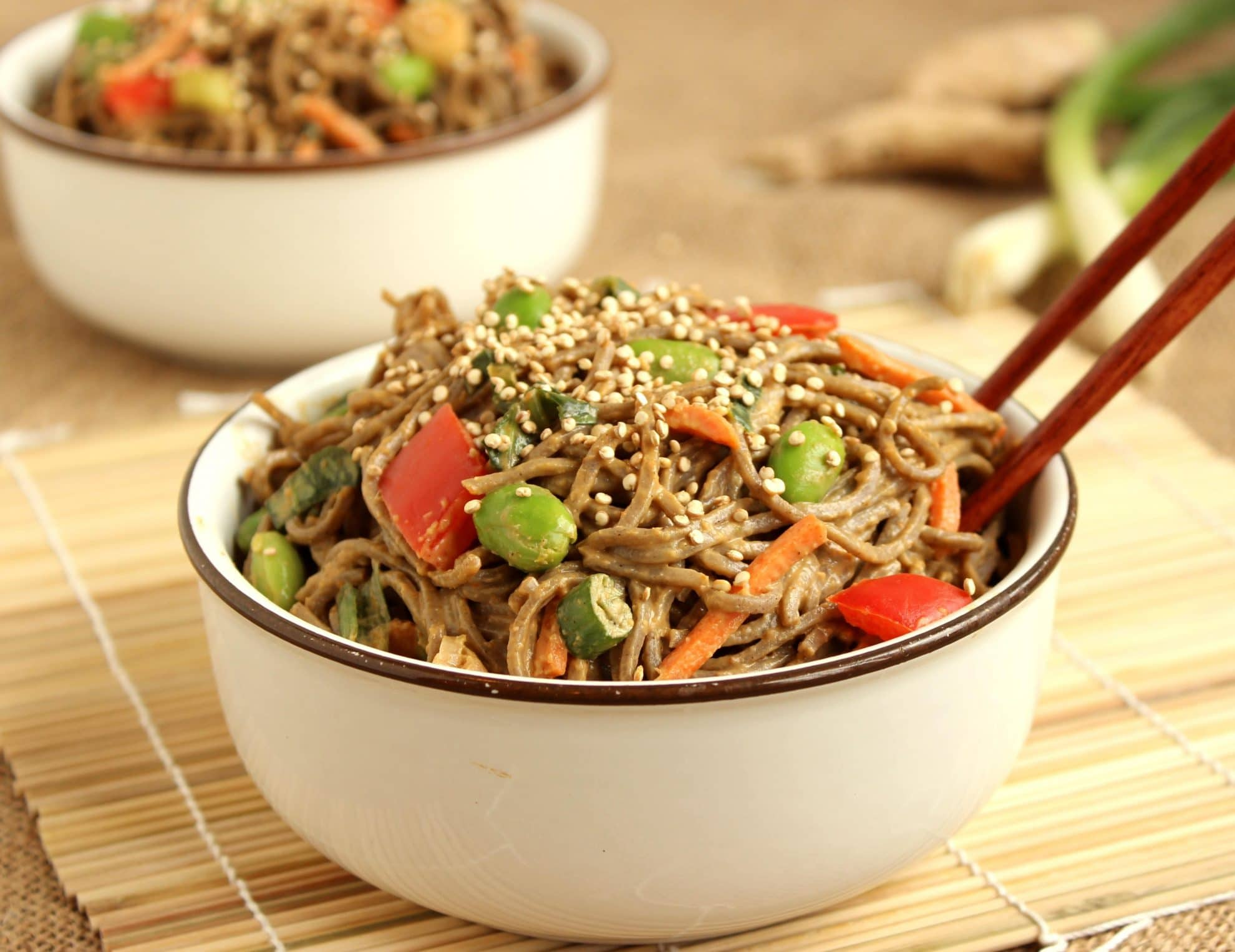 Soba Noodle Salad with Spicy Peanut Dressing and Toasted ...