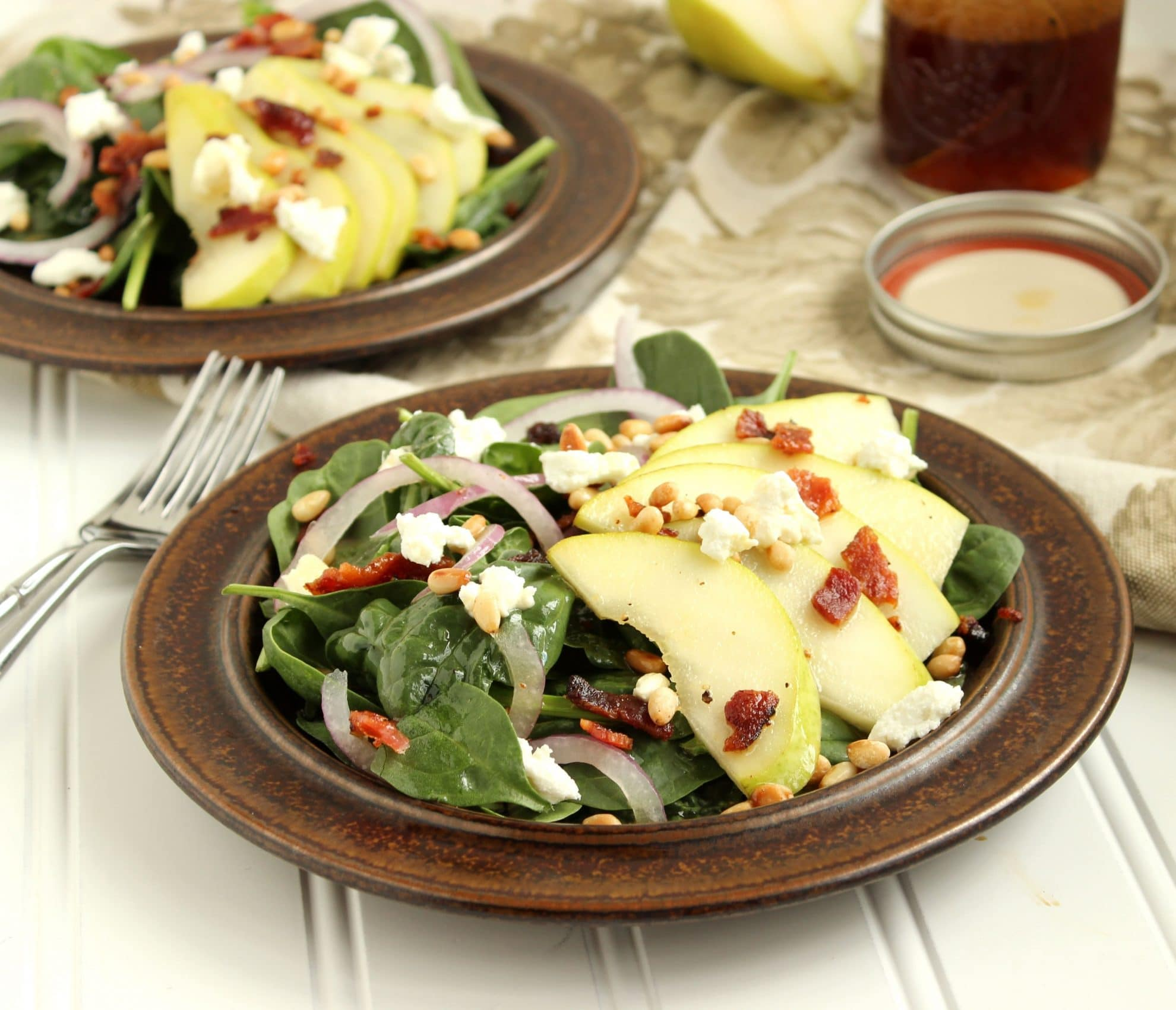 Pear, Goat Cheese and Spinach Salad with Warm Bacon Maple Dressing ...