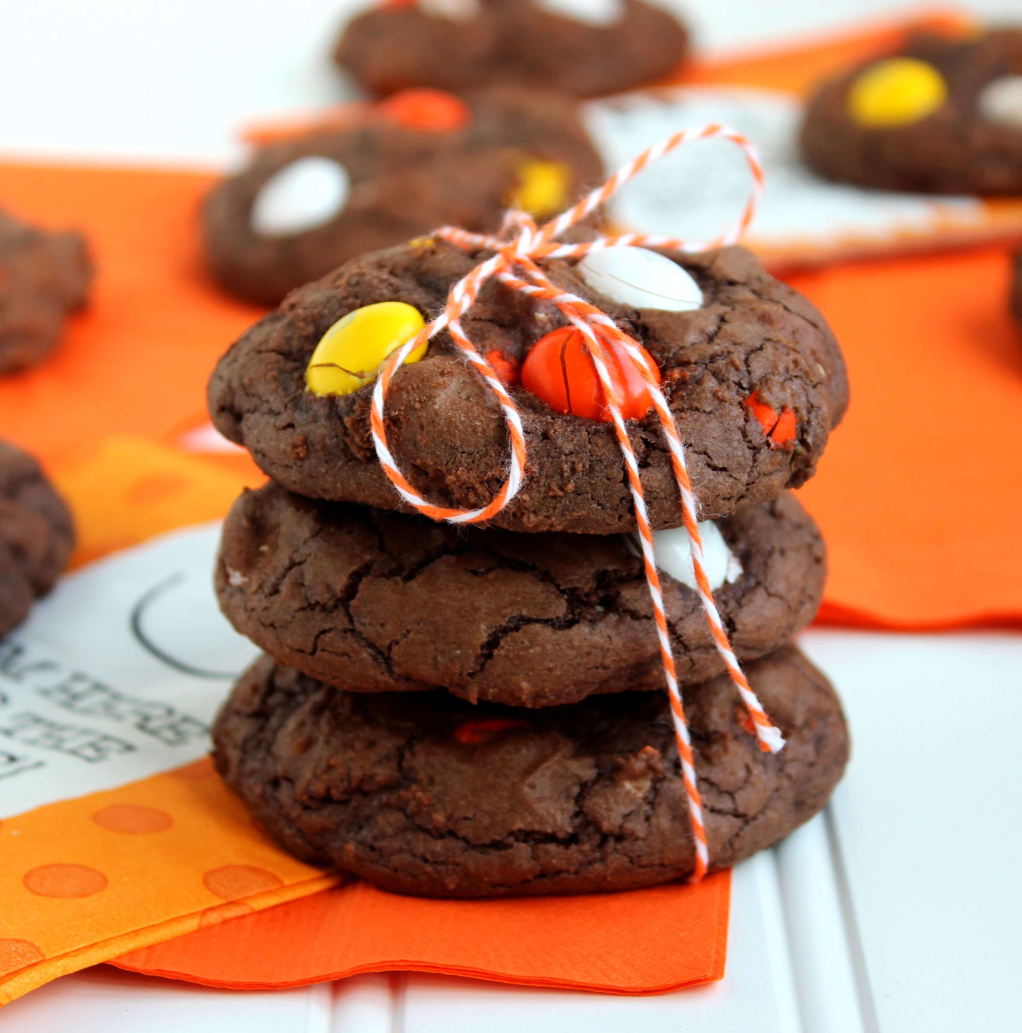 White Chocolate Candy Corn M&M Brownie Cookies - The Suburban Soapbox