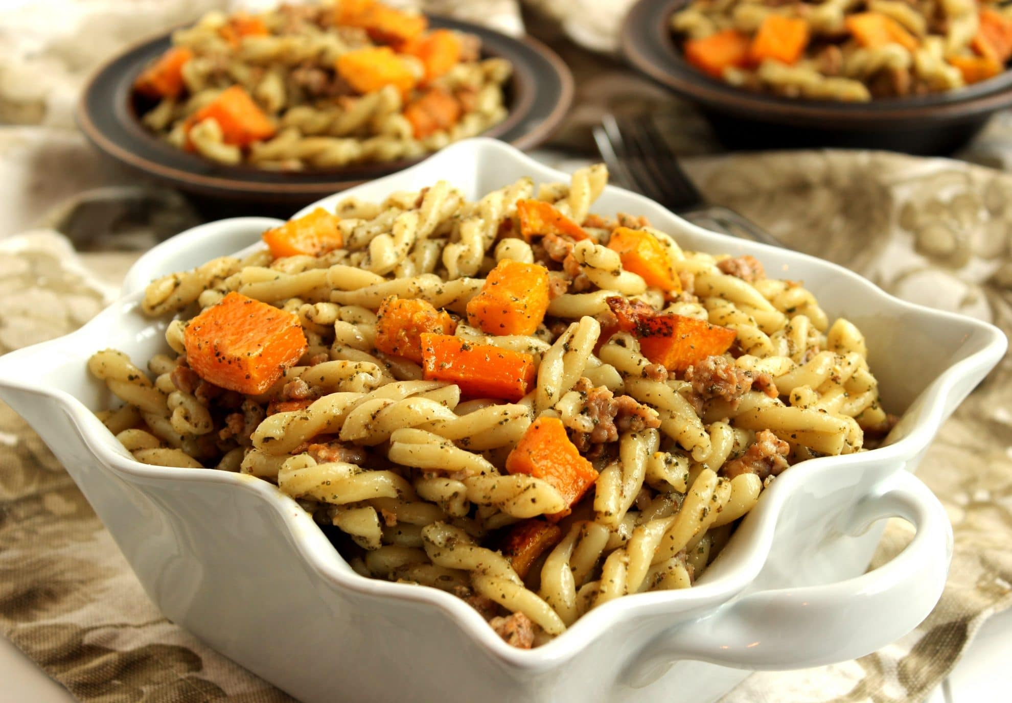 Pasta with Butternut Squash, Sausage and Sage Pesto - The Suburban ...