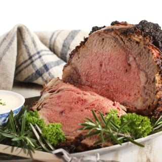 Herb Crusted Standing Rib Roast with Mustard-Horseradish Sauce