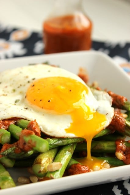 Warm Asparagus Salad with Roasted Tomato Vinaigrette