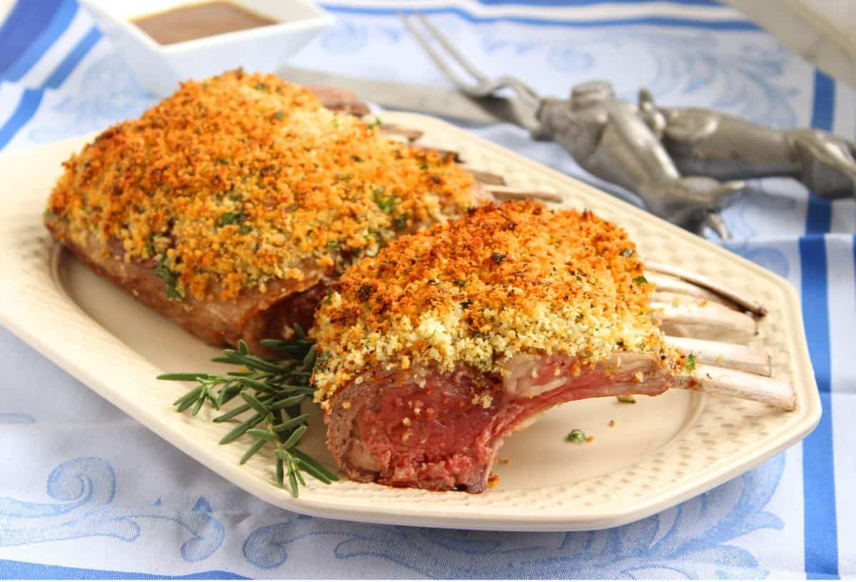 Herb-Crusted Rack of Lamb with Honey-Dijon Sauce