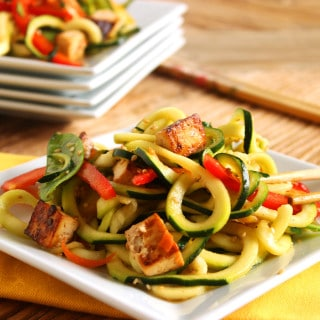 Asian Style Zucchini Noodle Salad with Baked Tofu | The Suburban Soapbox