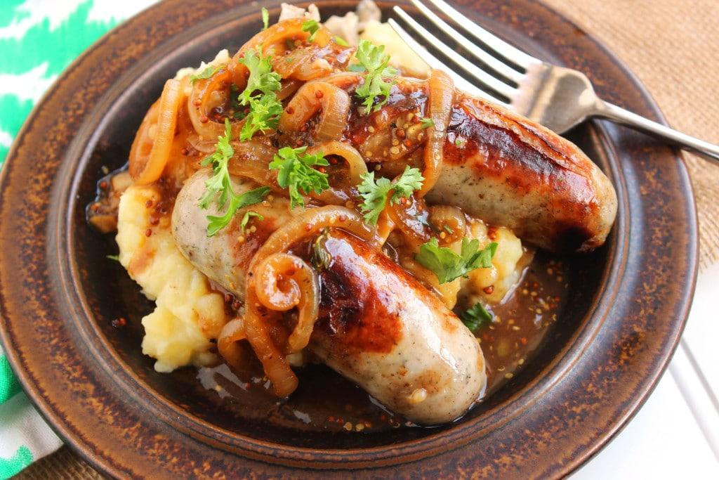 Bangers and Mash with Onion-Mustard Gravy | The Suburban Soapbox