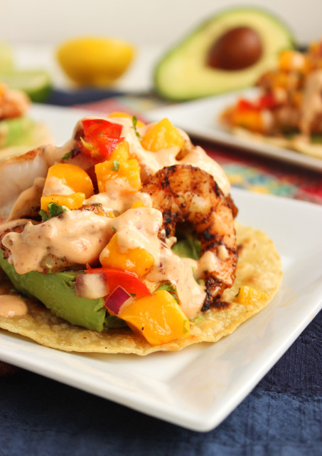 Grilled Shrimp Tostadas with Mango Salsa and Chipotle Cream | The Suburban Soapbox