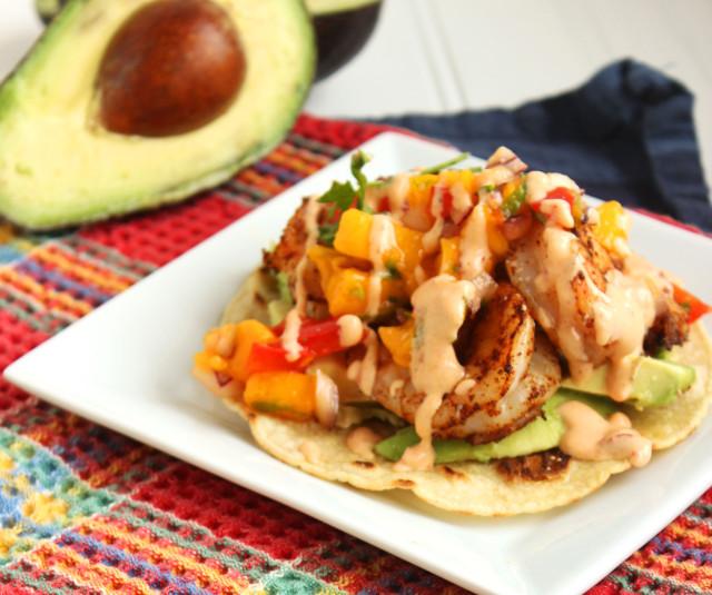 Grilled Shrimp Tostadas with Mango Salsa and Chipotle Cream   The Suburban Soapbox