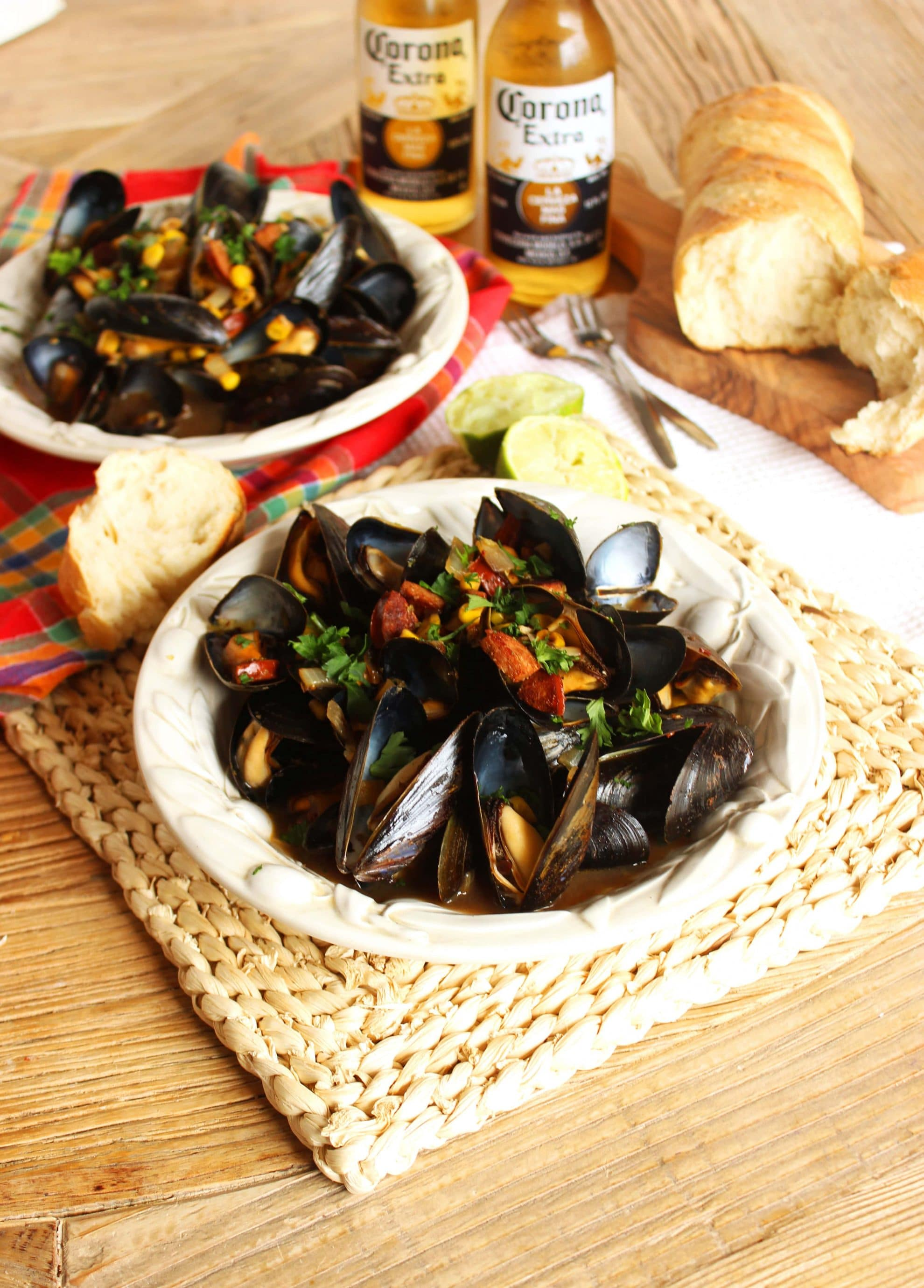 Corona steamed mussels with corn and chorizo the suburban soapbox corona steamed mussels with corn and chorizo the suburban soapbox forumfinder Images