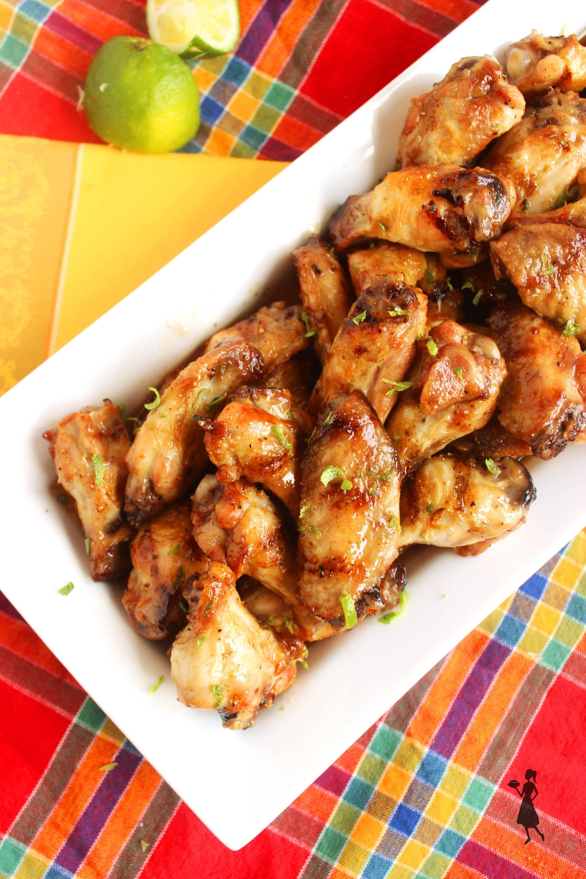 Crispy, grilled chicken wings smothered in a sticky, slightly spicy ...