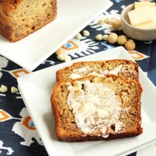 White Chocolate Macadamia Banana Bread