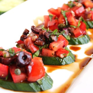 Cucumber Bruschetta with Tomato and Kalamata Olives