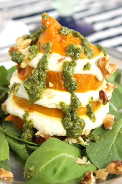 Golden Beet and Whipped Goat Cheese Salad with Walnut Mint Pesto | The Suburban Soapbox