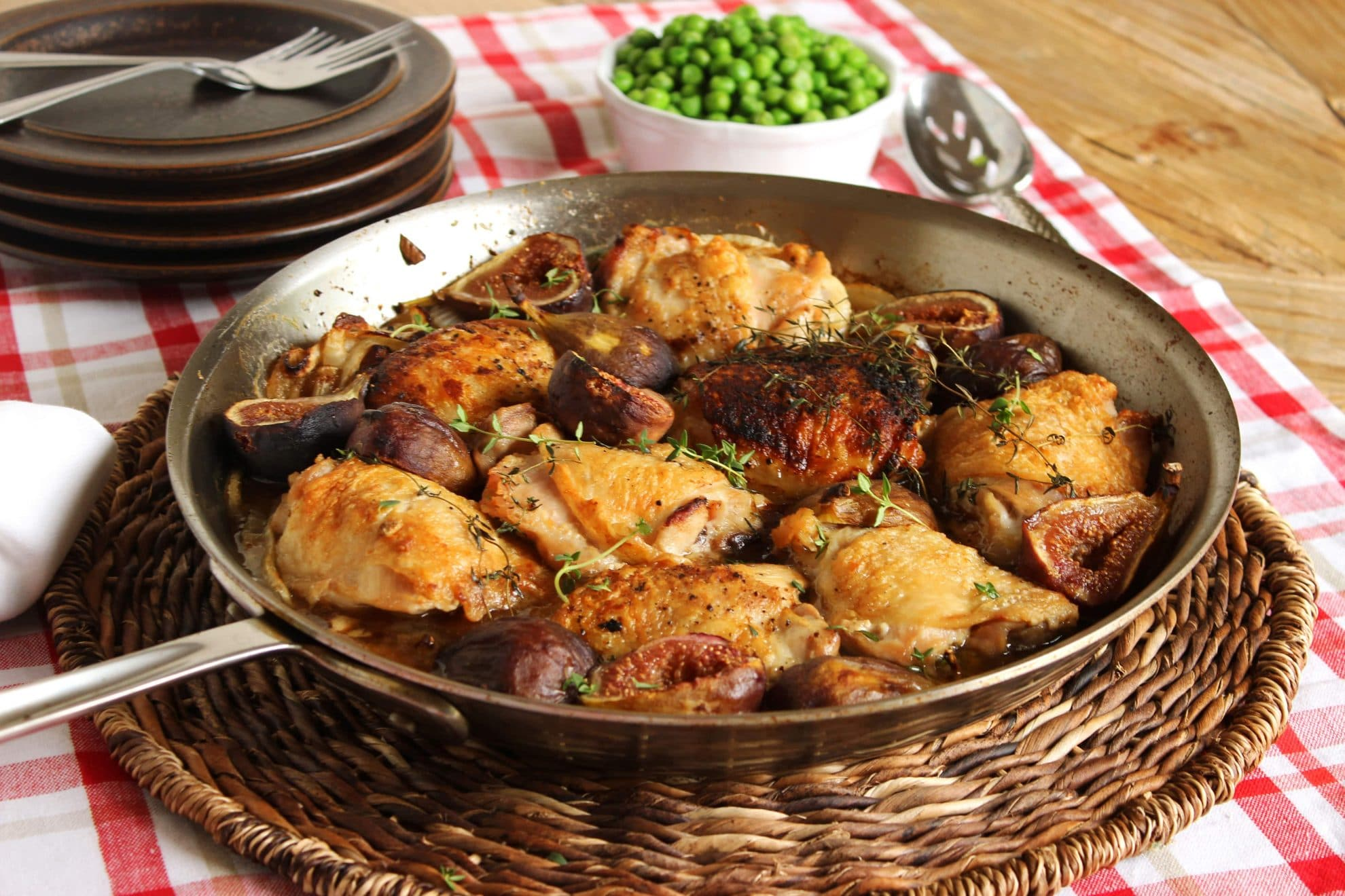 Pan Roasted Crispy Chicken Thighs with Figs