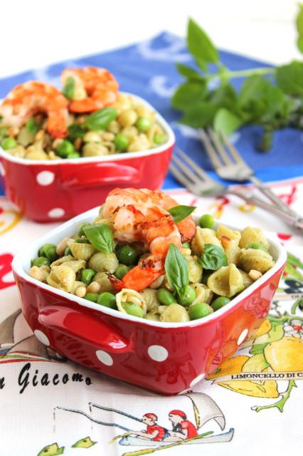 Pesto Pasta with Peas and Grilled Shrimp   The Suburban Soapbox
