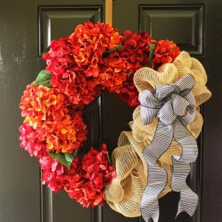 Fall Hydrangea and Jute Wreath