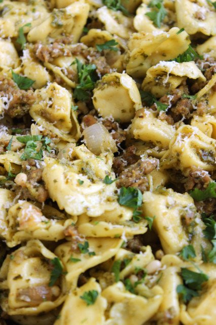 Skillet Tortellini with Sausage and Pesto | The Suburban Soapbox