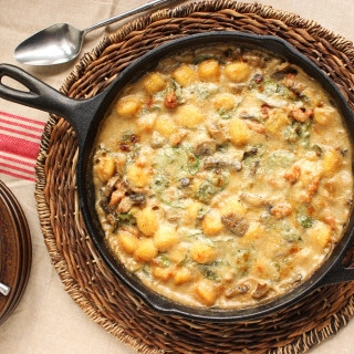 Baked Sausage Spinach and Gnocchi Skillet