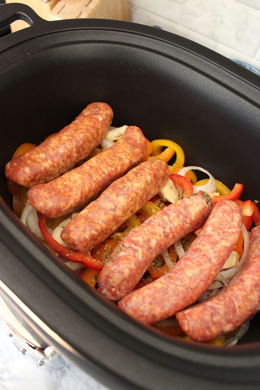 Slow Cooker Sausage And Peppers With Parmesan Basil