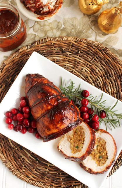 Spicy Cornbread-Sausage Stuffed Turkey Roulade with Cranberry Barbecue ...
