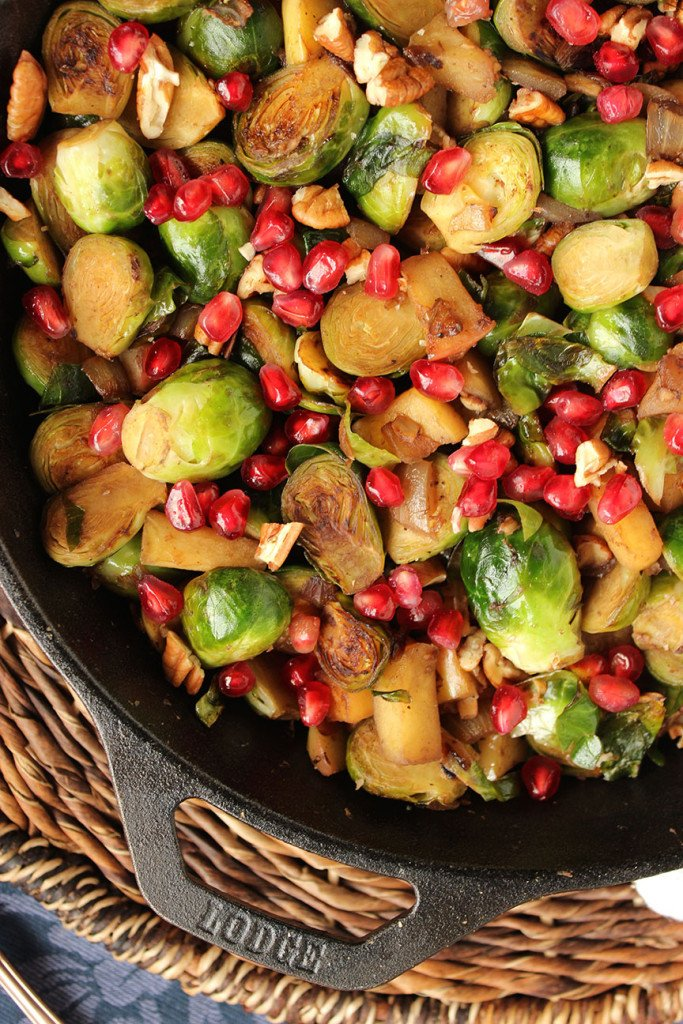 Skillet Brussels Sprouts with Apples, Pecans and Pomegranate | The Suburban Soapbox
