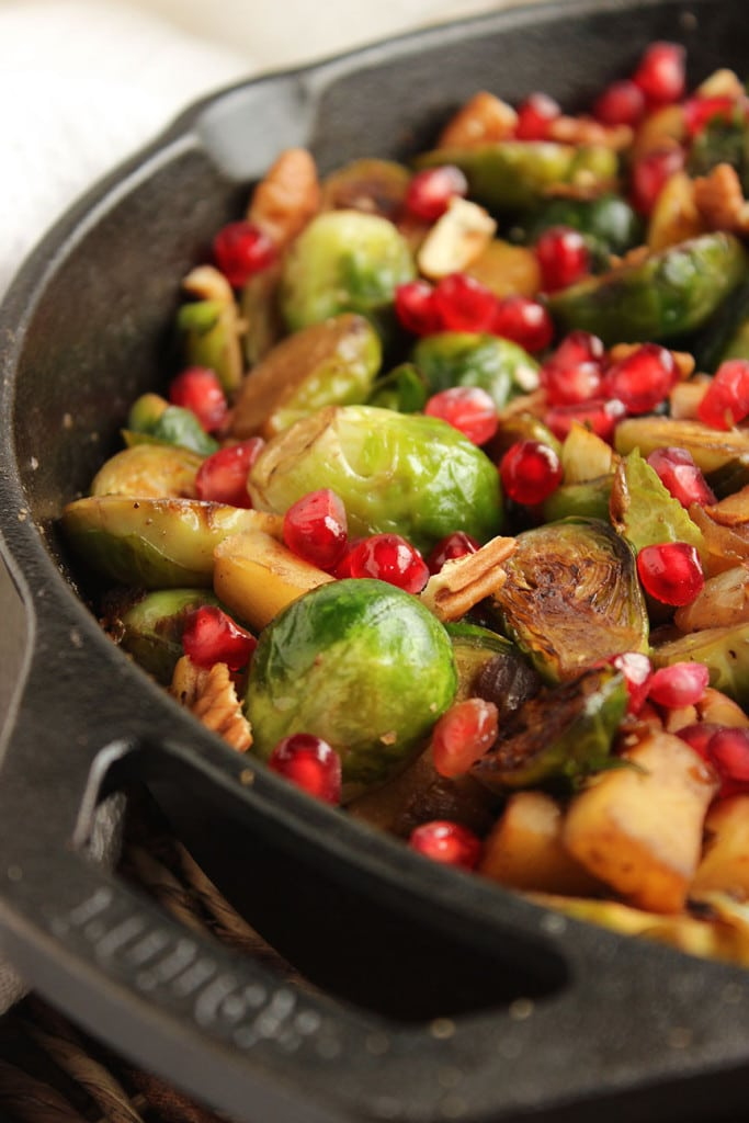 Skillet Brussels Sprouts with Apple, Pecans and Pomegranate | The Suburban Soapbox