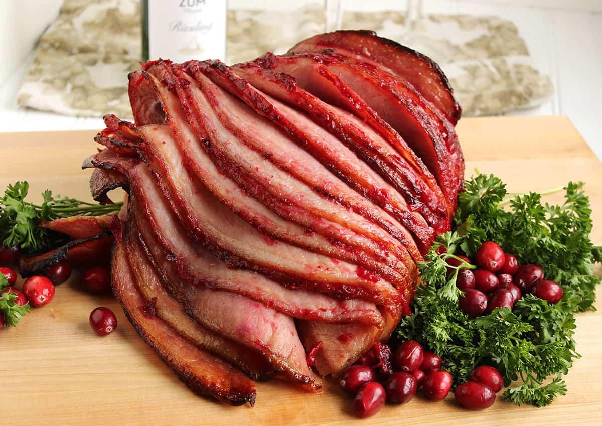 Riesling-Cranberry Glazed Spiral Ham