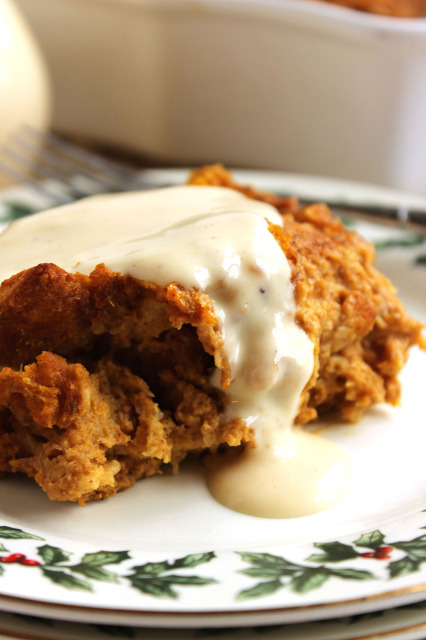 Pumpkin Bread Pudding with Eggnog Bourbon Sauce | The Suburban Soapbox