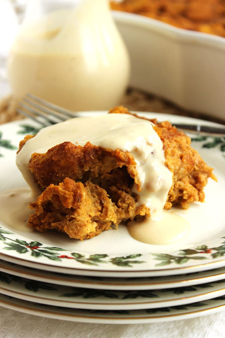 Pumpkin Bread Pudding With Bourbon Vanilla Sauce Recipe — Dishmaps