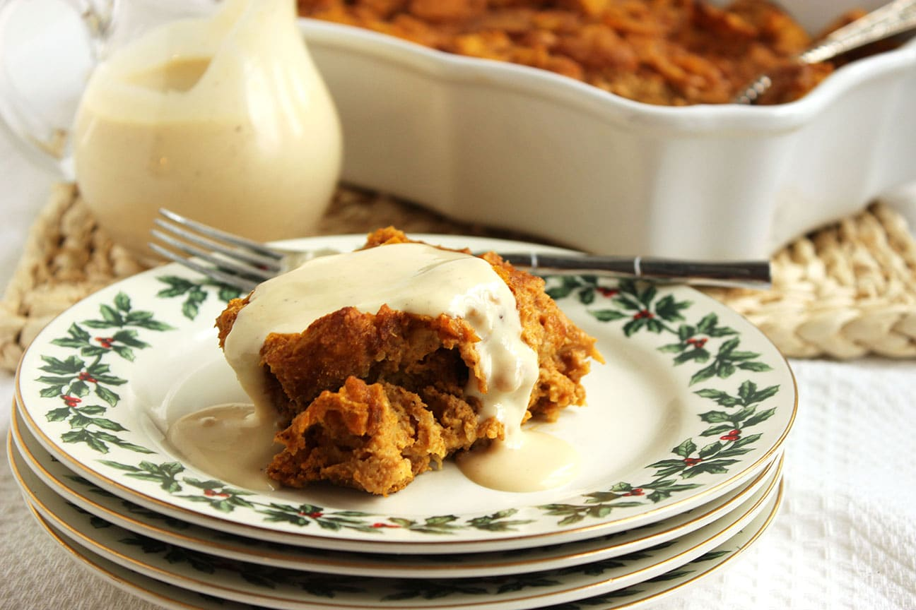 Pumpkin Bread Pudding with Eggnog Bourbon Sauce - The Suburban Soapbox