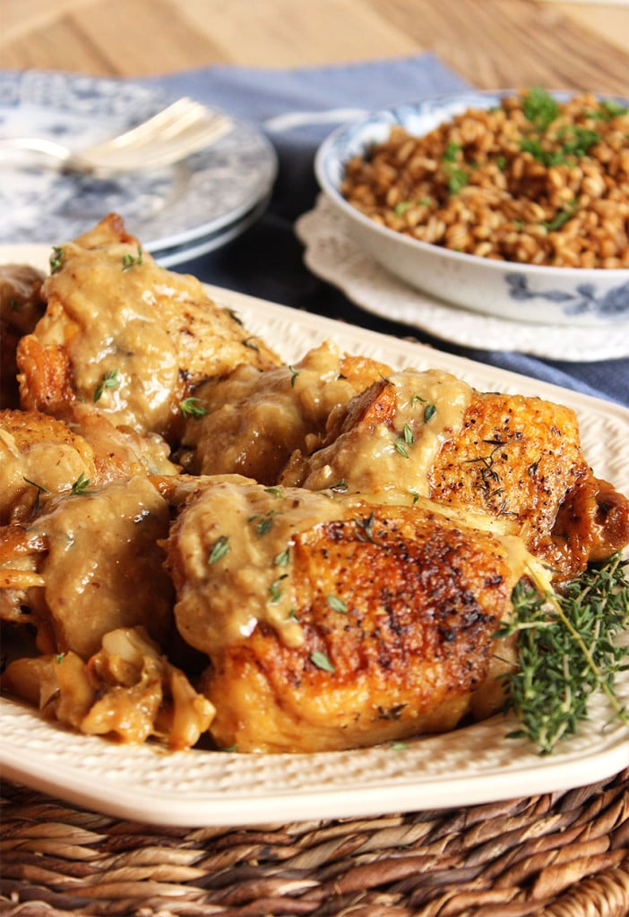 Champagne and Garlic Braised Chicken Thighs | The Suburban Soapbox #chicken #braise