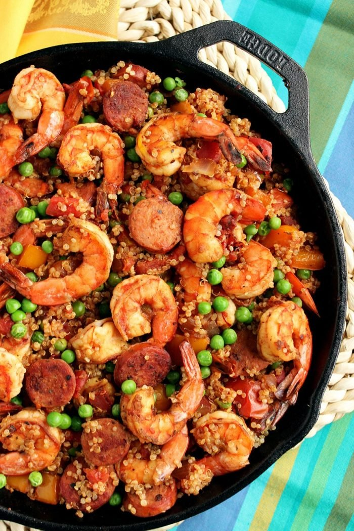 Shrimp and Chorizo Skillet Paella with Quinoa | The Suburban Soapbox #skillet #dinner