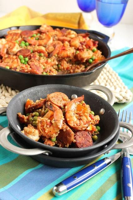 Shrimp and Chorizo Skillet Paella with Quinoa | The Suburban Soapbox #skillet #dinner