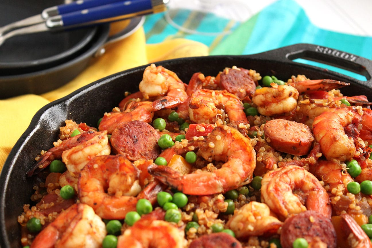 Shrimp and Chorizo Skillet Paella with Quinoa