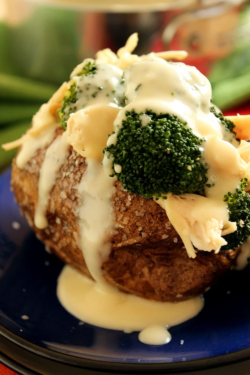 Cheddar Broccoli and Chicken Stuffed Baked Potatoes - The Suburban ...