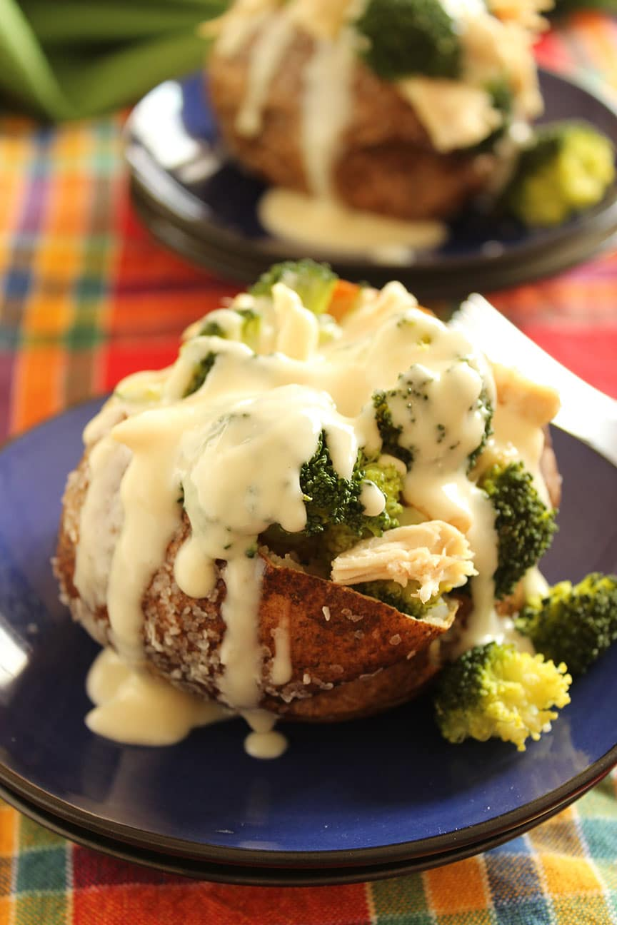 Cheddar Broccoli And Chicken Stuffed Baked Potatoes The