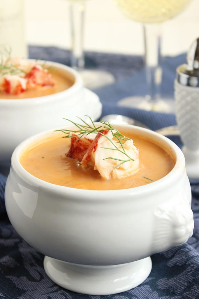 Easy Lobster Bisque | The Suburban Soapbox #lobsterbisque #valentinerecipe #inthealdikitchen