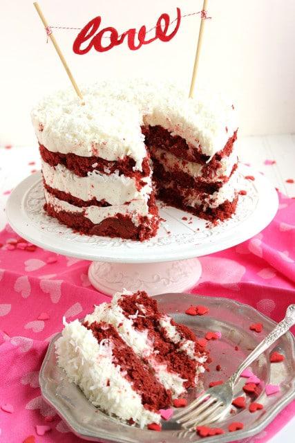 Red Velvet Coconut Cake with Coconut Cream Cheese Frosting | The Suburban Soapbox #nakedcake #redvelvet #baking