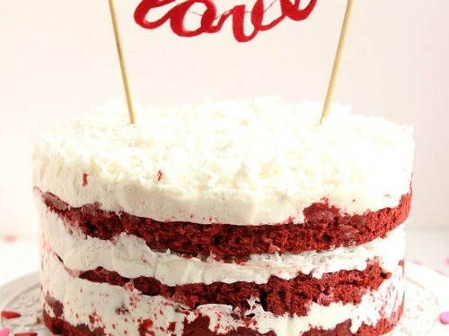 Red Velvet Coconut Cake With Cream Cheese Frosting