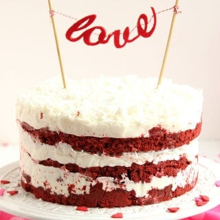 Red Velvet Coconut Cake with Coconut Cream Cheese Frosting