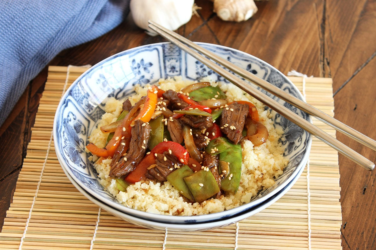 Stir Fried Beef Peppers And Snow Peas With Cauliflower