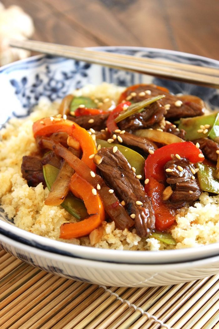 Stir-Fried Beef Peppers and Snow Peas with Cauliflower Rice | The Suburban Soapbox #cauliflowerrice #lowcarb #stirfry