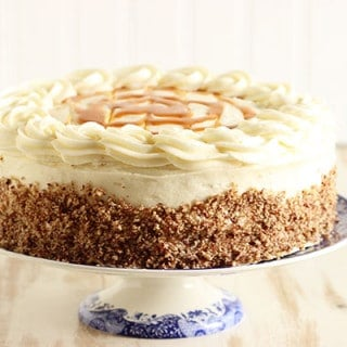 Kentucky Bourbon Butter Cake with Cream Cheese Frosting and Salted Caramel Sauce